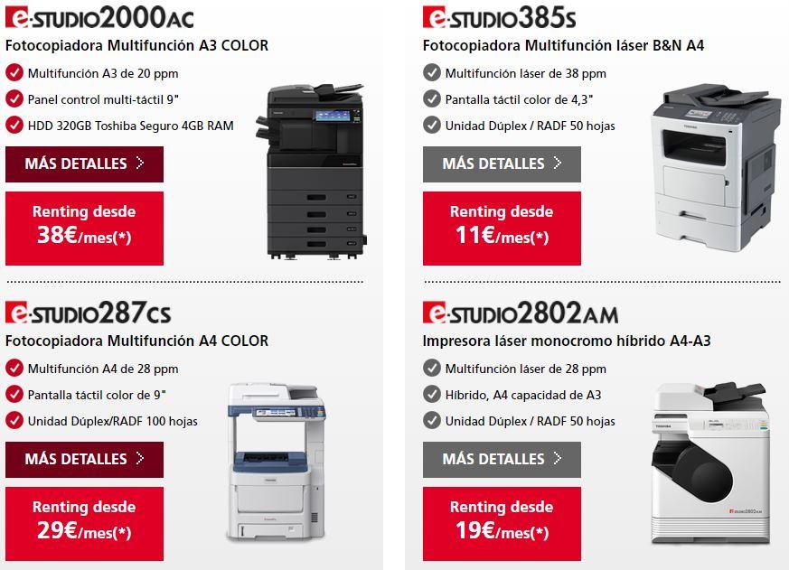 diferentes modelos de impresoras Toshiba e-Studio